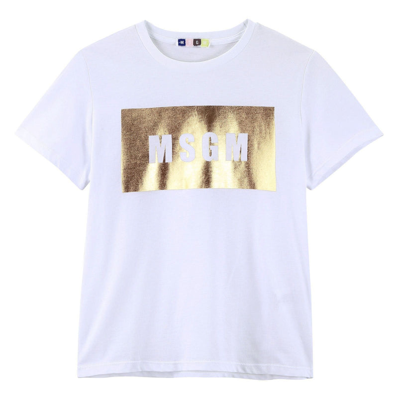 Girls White Cotton Jersey T-Shirt With Gold Brand Logo - CÉMAROSE | Children's Fashion Store - 1
