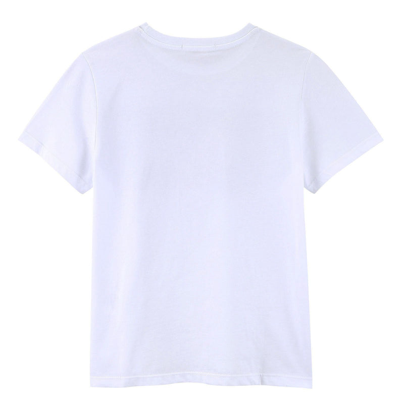 Girls White Cotton Jersey T-Shirt With Gold Brand Logo - CÉMAROSE | Children's Fashion Store - 2