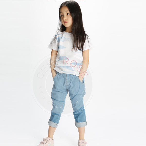 Boys White & Sky Blue Printed Cotton T-shirt