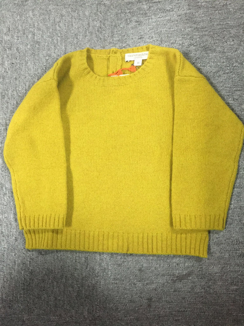 Boys Yellow Knitted Wool Sweater With Ribben Cuffs - CÉMAROSE | Children's Fashion Store
