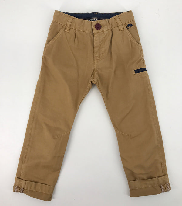 Boys Beige Chinos with Navy Blue Trim - CÉMAROSE | Children's Fashion Store - 1