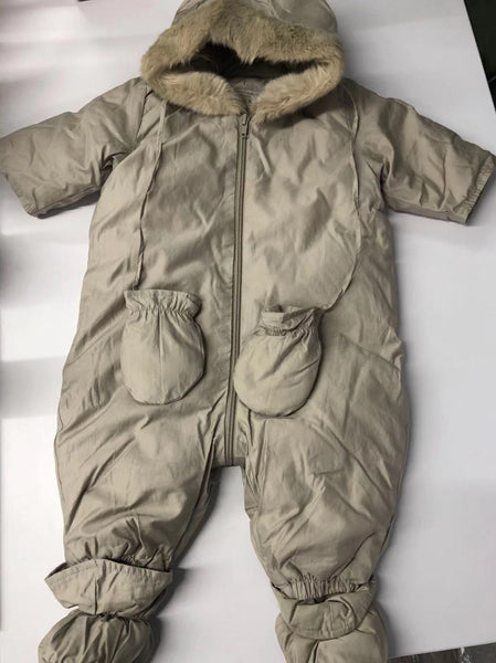 Baby Boys Grey Padded Down Babysuit