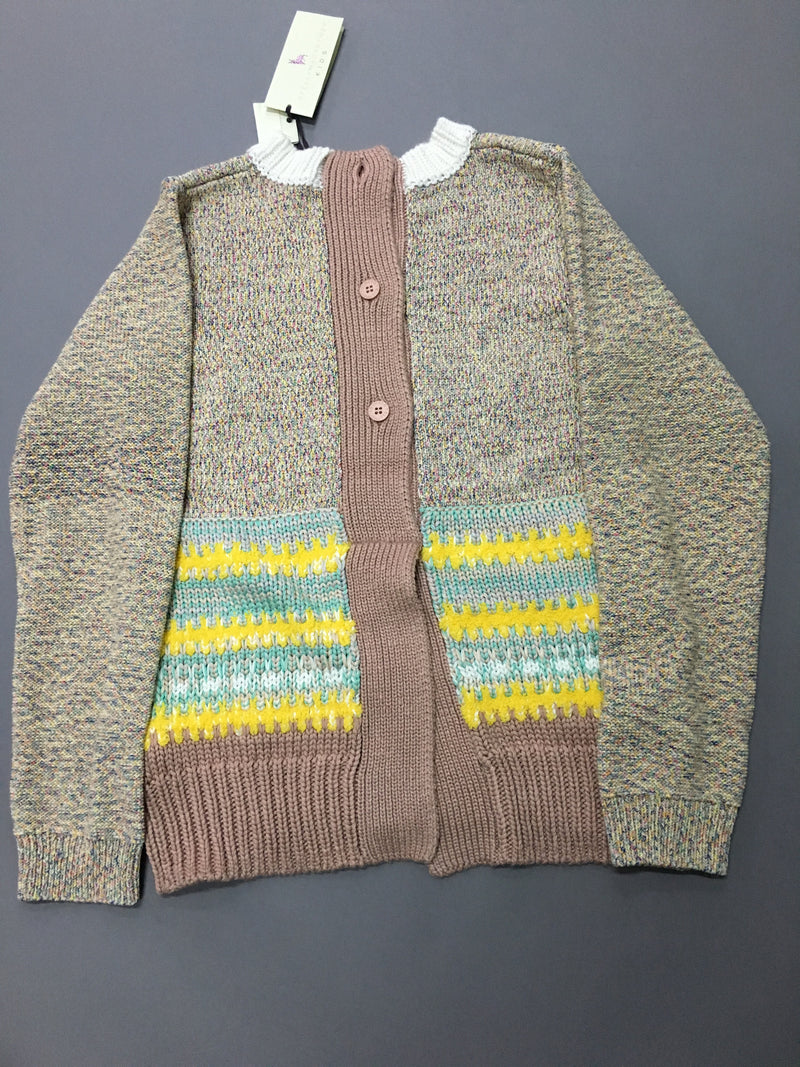 Girls Multicolor Striped Knitted Sweater With Ribbed Cuffs - CÉMAROSE | Children's Fashion Store