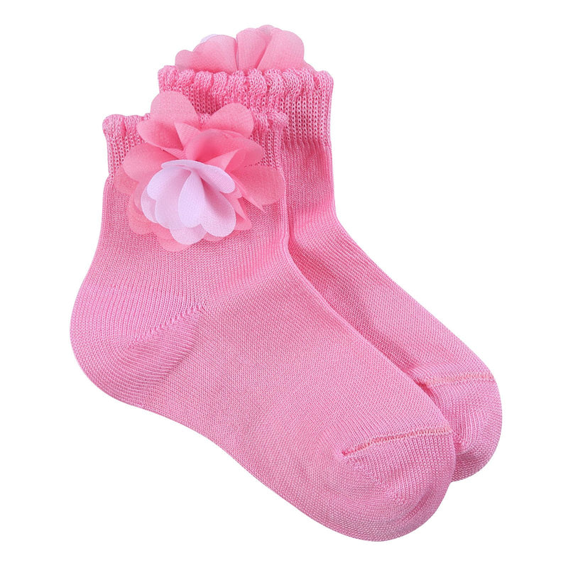 Girls Pink Cotton Short Socks With Patch Flower Trims - CÉMAROSE | Children's Fashion Store