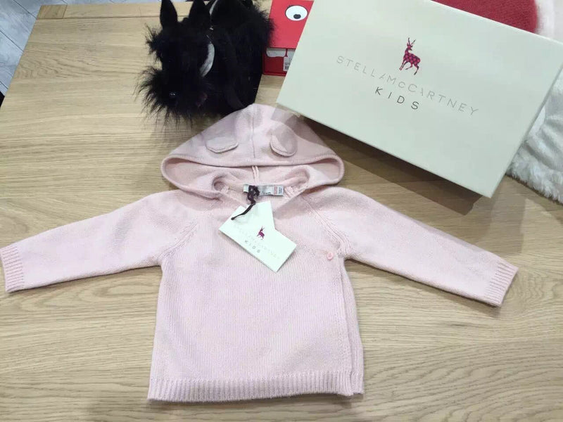 Smudge Baby Pink Wool&Cashmere Hooded Cardigan With Ears - CÉMAROSE | Children's Fashion Store