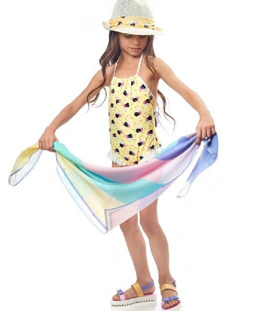 Girls Multicolor Printed Cotton Scarf - CÉMAROSE | Children's Fashion Store - 2