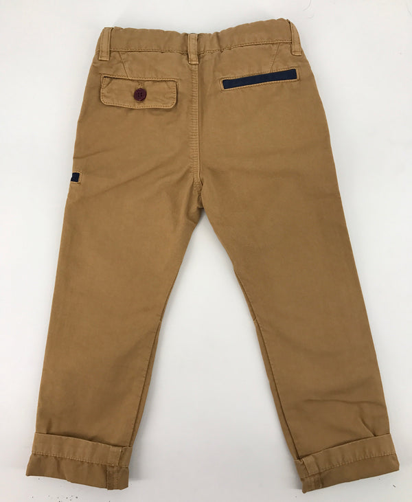 Boys Beige Chinos with Navy Blue Trim - CÉMAROSE | Children's Fashion Store - 2