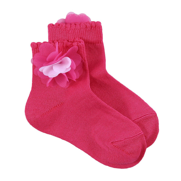 Girls Dark Red Cotton Short Socks With Patch Flower Trims - CÉMAROSE | Children's Fashion Store