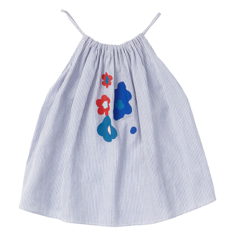 Baby Girls Blue Stripe Cotton Dress With Patch Flower Trims - CÉMAROSE | Children's Fashion Store