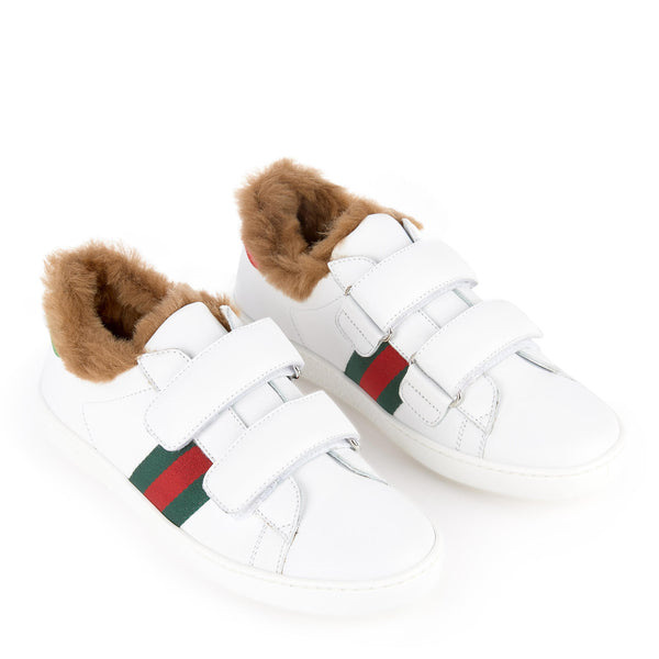 Girls White Leather Trainers Shoes