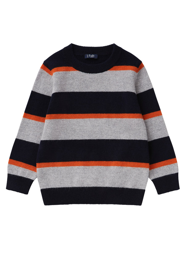 Boys Blue & Grey Wool Sweater