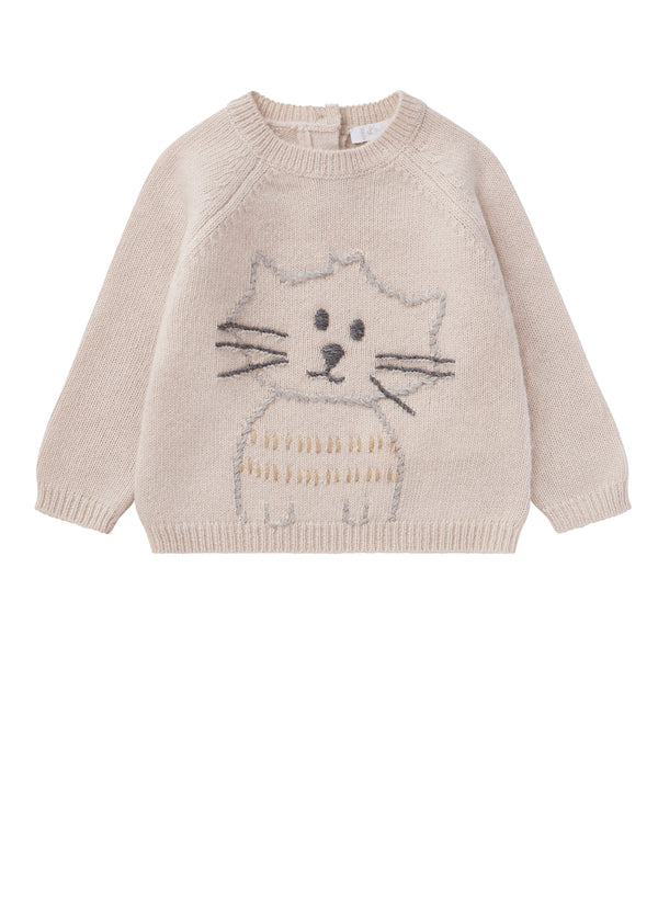 Baby Boys Beige Wool Sweater