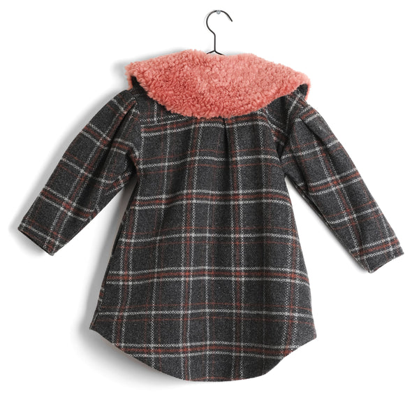 Girls Grey Check Pleated Back Wool Coat