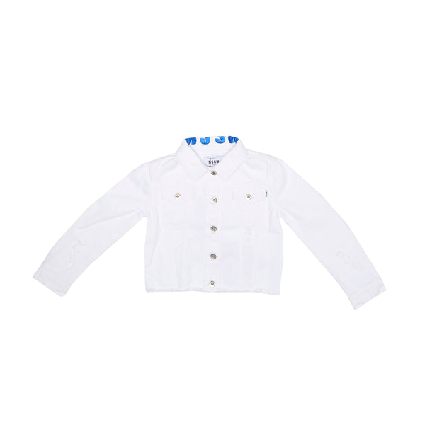 Girls White Cotton Jacket