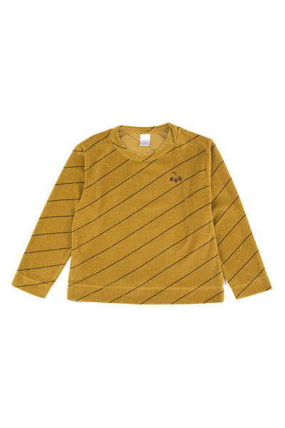 Girls & Boys Mustard Stripes Cotton Sweatshirt