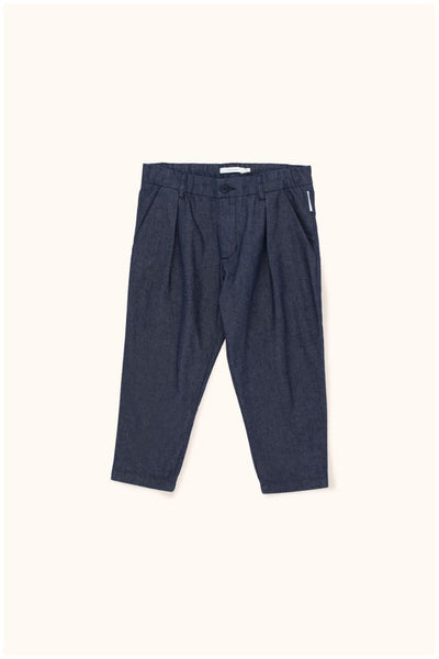 Girls Navy Cotton Denim Pleated Pant