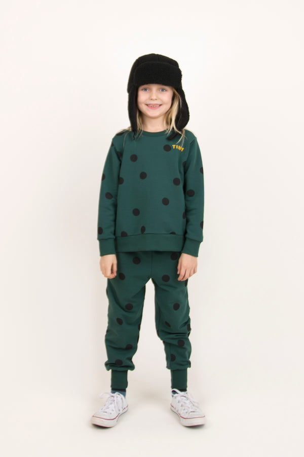 Boys & Girls Dark Green Dots Sweatshirt