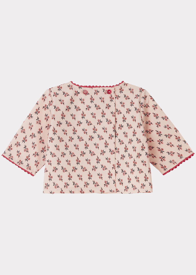 Baby Girls Light Pink Floral Cotton Top