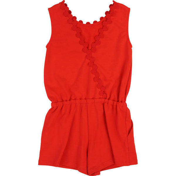 Girls Red Cotton Jumpsuit