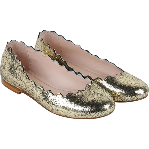 Girls Gold Cuir Ballerina Shoes