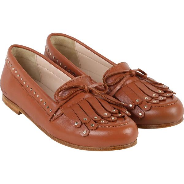 Girls Brown Tassel Cuir Shoes