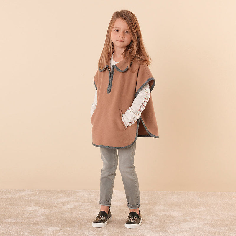 Girls Brown Wool Cape