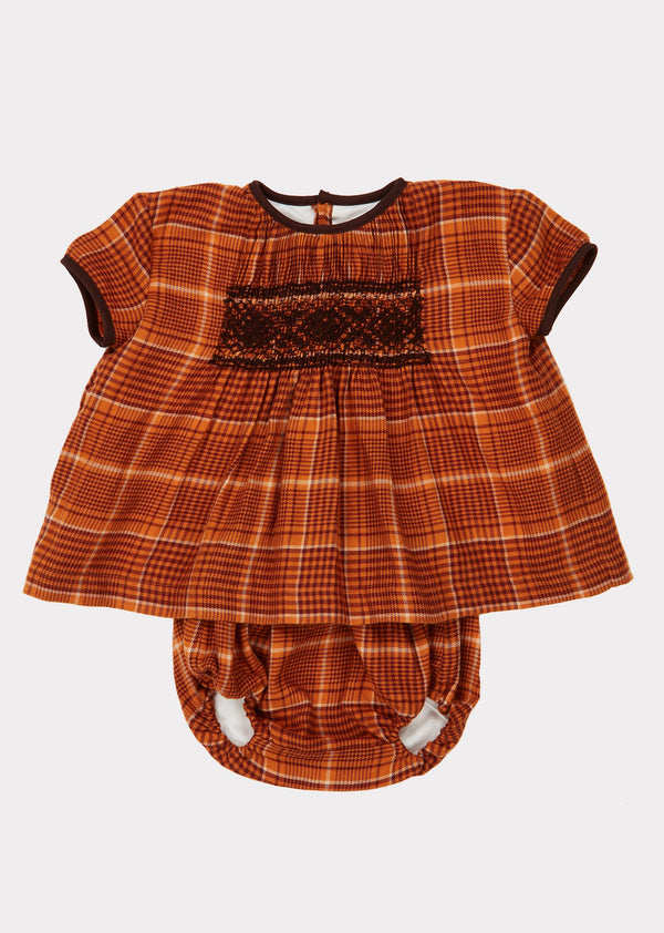 Baby Girls Orange Check Dove Tunic Set