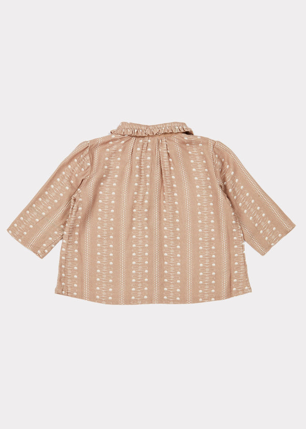 Baby Girls Chestnut Dotty Print Tern Shirt