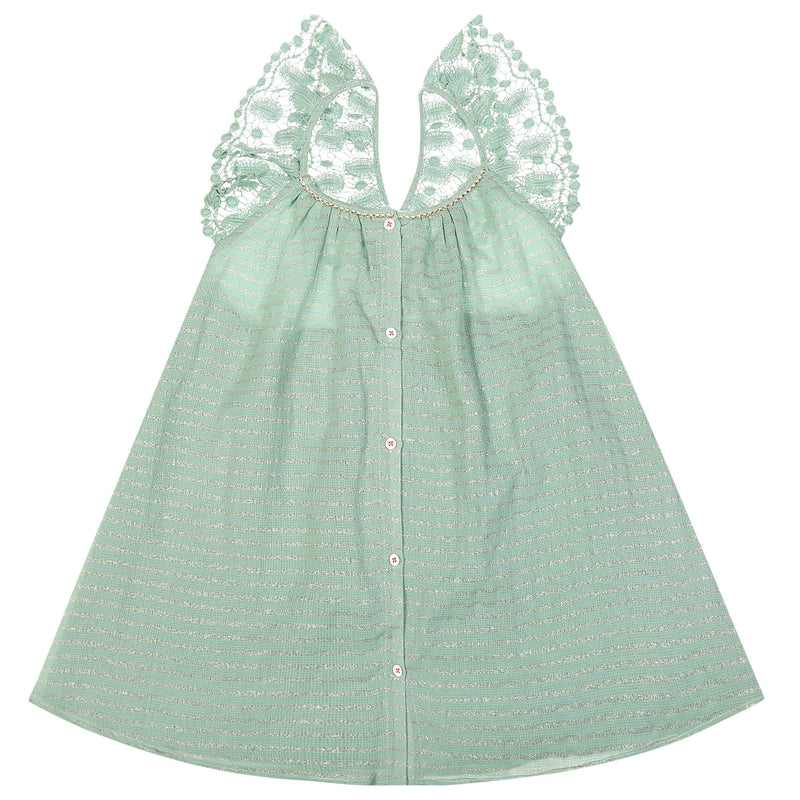"Girls Light Green ""Alba"" Striped Dress"