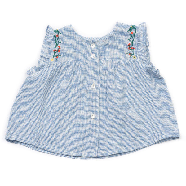 Baby Girls Blue Vichy Embroided Top