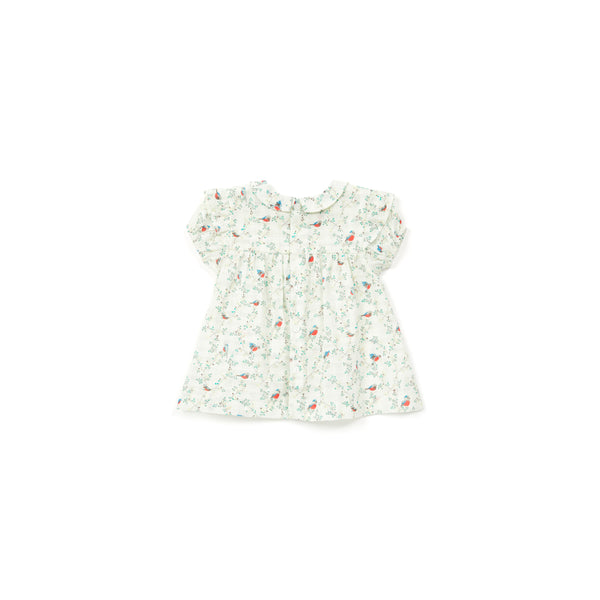 Baby Girls Cyan Embroidery Bird Cotton Dress