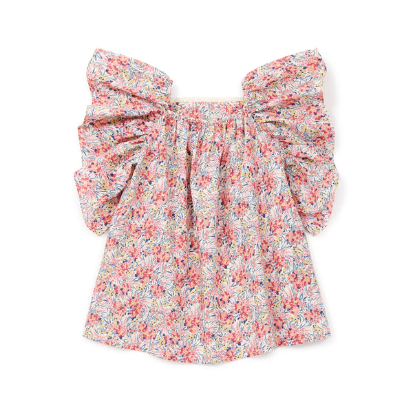 Girls Pink Flowers Cotton Top