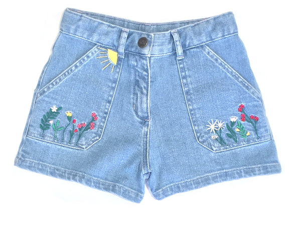 Girls Blue Embroidery Denim Shorts