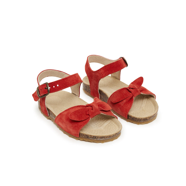 Girls Red Bow Leather Sandals
