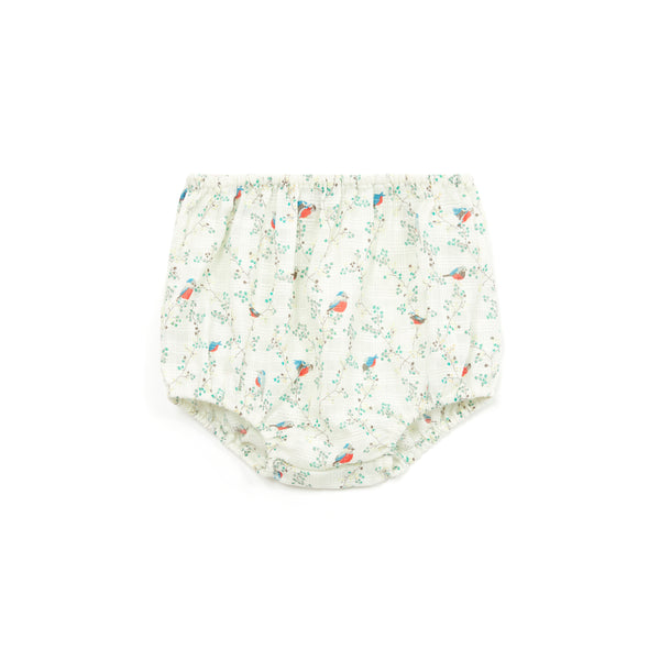 Baby Girls Cyan Embroidery Bird Cotton Bloomers