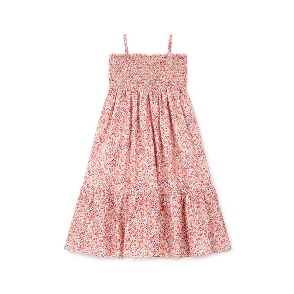Girls Red Flowers Cotton Dress