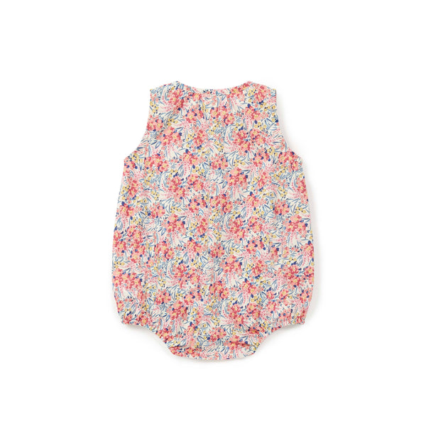Baby Girls Pink Flowers Cotton Babysuit