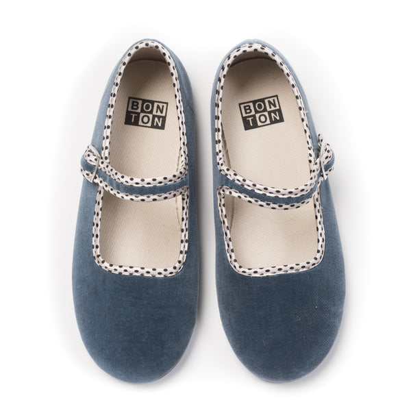 Baby Girls Blue Grey Cotton Shoes