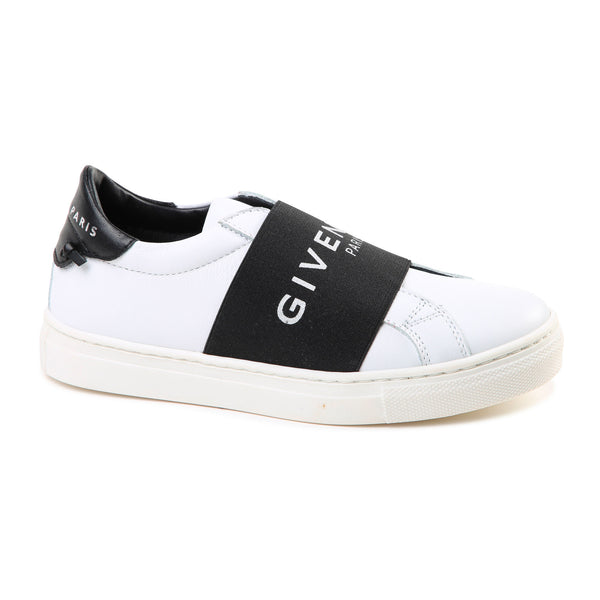 Boys & Girls White & Black Logo Shoes