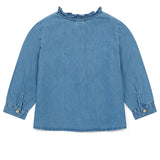 Girls Blue Embroidered Denim Shirt