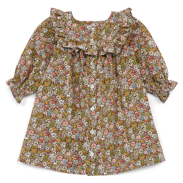 Baby Girls Green Floral Cotton Dress