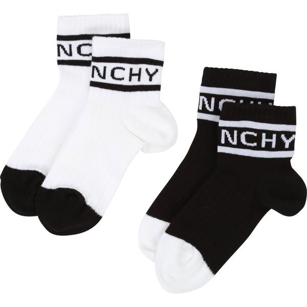 Boys White & Black 2 Pairs Cotton Socks