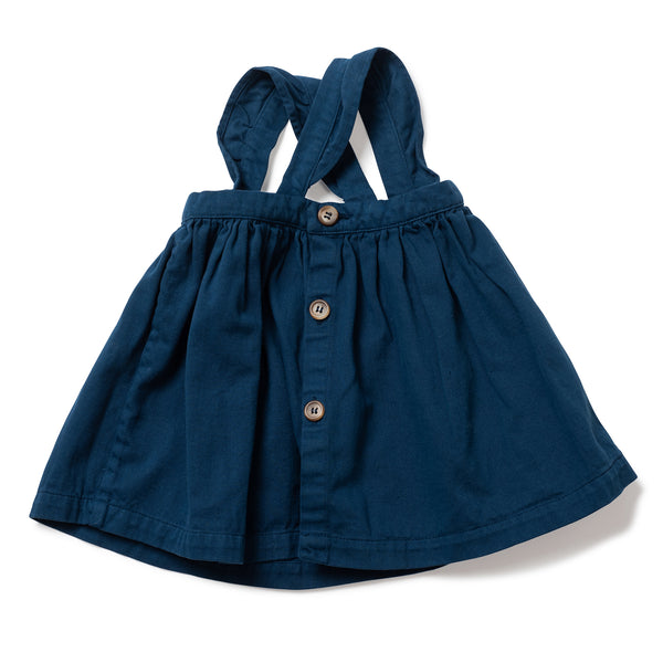 Baby Girls Blue Faience Bretelle Cotton Skirt