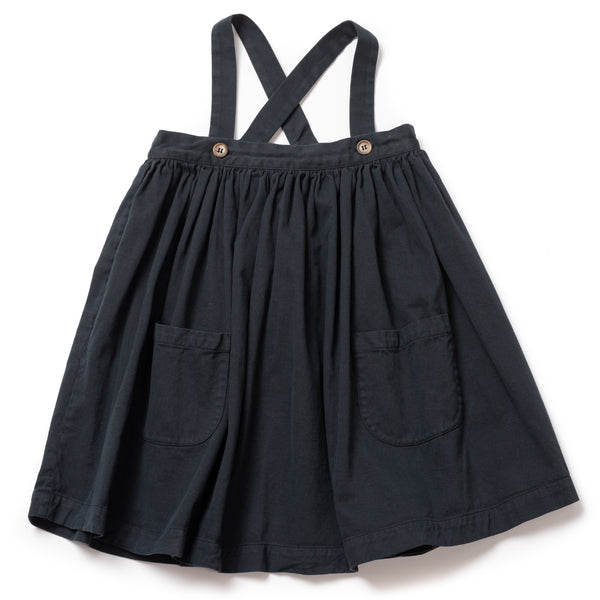 Girls Fusain Bretelle Cotton Skirt