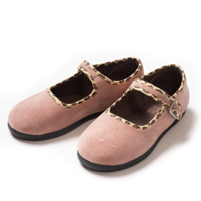 Girls Beige Rose Cotton Shoes