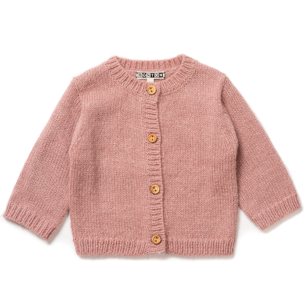 Baby Boys & Girls Pink Velvet Cardigan