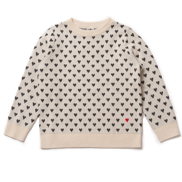 Girls Ecru Coeur Jacquard Jumper