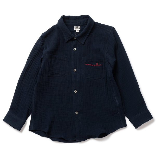 Boys Navy Cotton Shirt