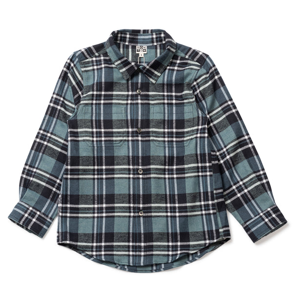 Boys Blue Plaid Cotton Shirt