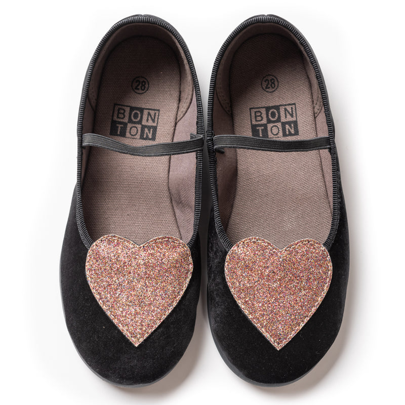 Girls Noir Cotton Shoes
